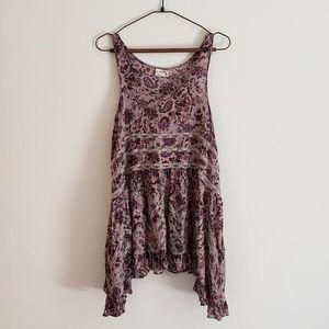 Free People Trapeze Slip Dress in Purple Floral